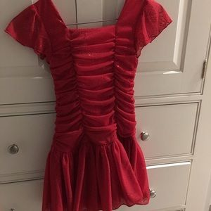 Red sparkly holiday dress 6X worn 1x LIKE NEW